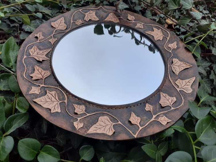 Miroir en cuir brun de Cuir et Minéraux